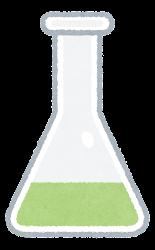 三角フラスコのイラスト(緑)