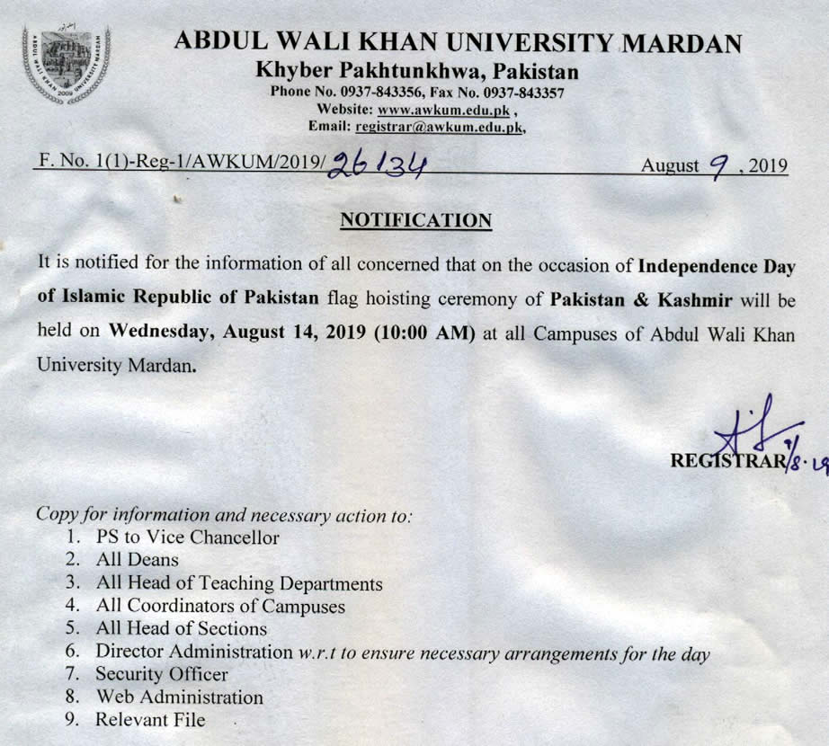 Abdul Wali Khan University Mardan: 2019