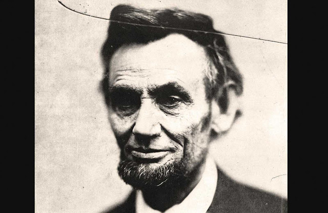 Abraham Lincoln, the 16th President of the United States, in a head-and-shoulders portrait taken by photographer Alexander Gardner on February 5, 1865. Traditionally called