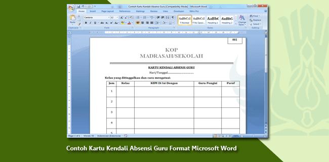 Contoh Kartu Kendali Absensi Guru Format Microsoft Word