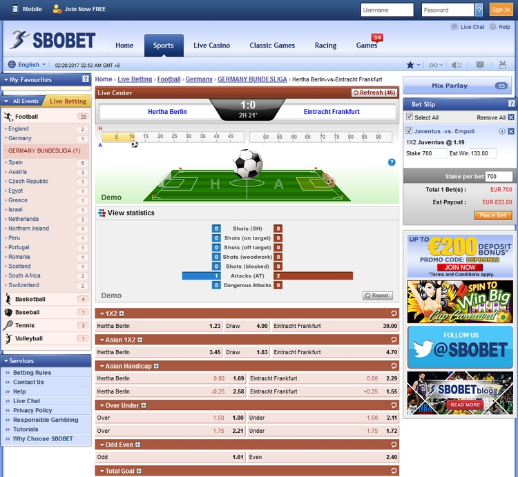Sbobet Live Betting Offers