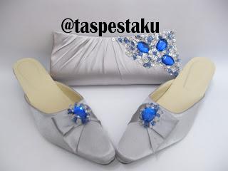 Set matching tas pesta dan slop pesta cantik silver payet mix biru electric