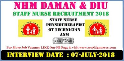 NHM Daman & Diu Staff Nurse Recruitment 2018