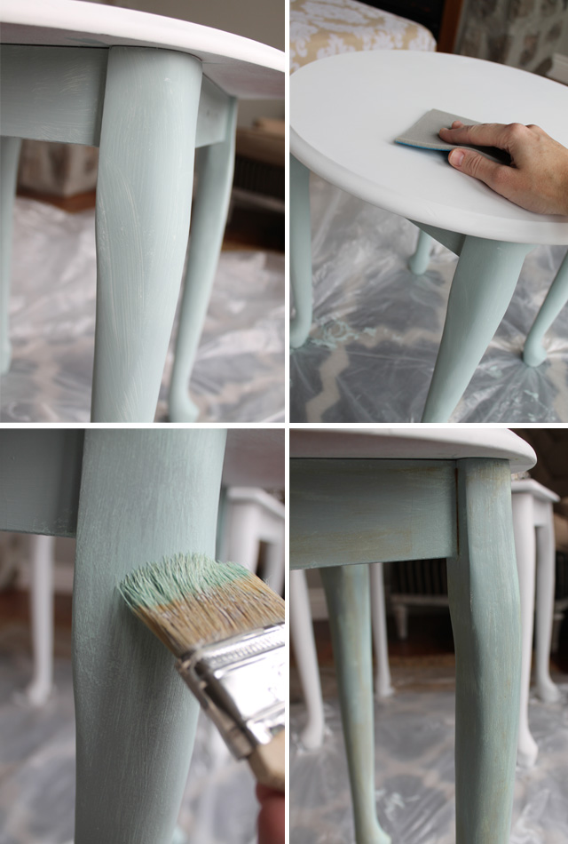 Table makeover with chalky finish paint from americana - Restaurar muebles vintage ...