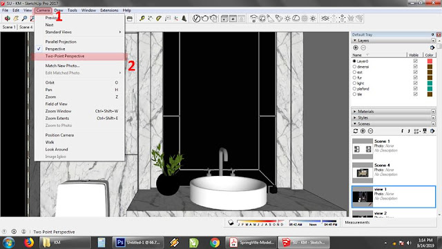 sketchup orthographic view two point perspektif