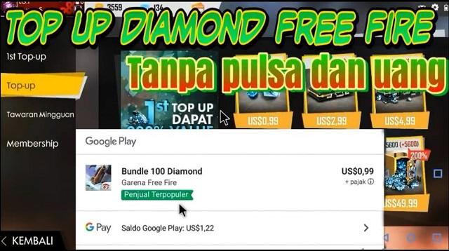 Cara top up FF gratis tanpa pulsa