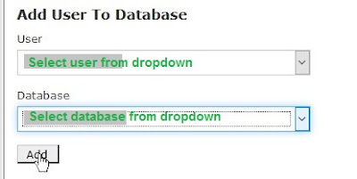 add assign new user to database cpanel