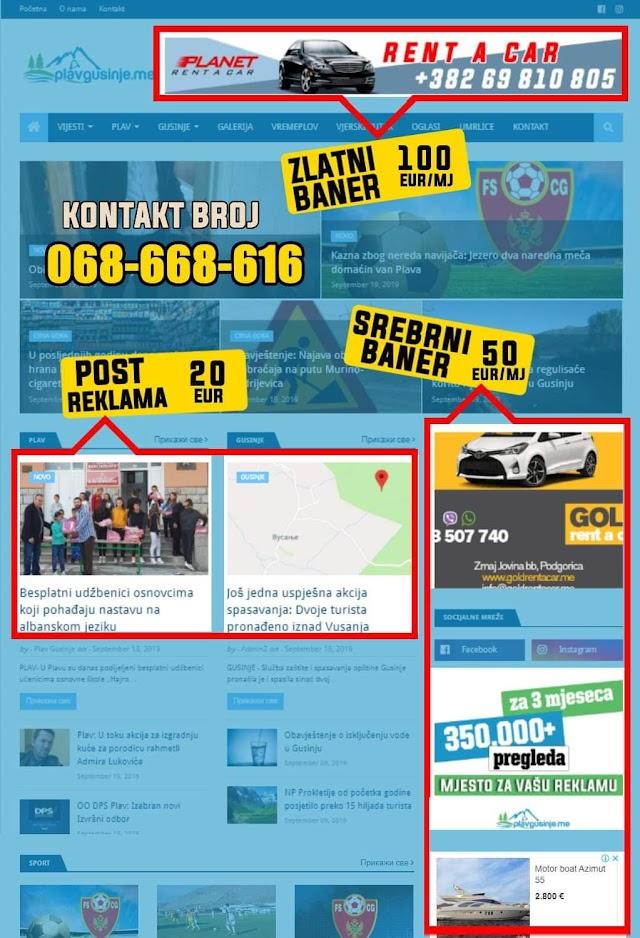 Naš sajt je pravo mjesto za vašu reklamu