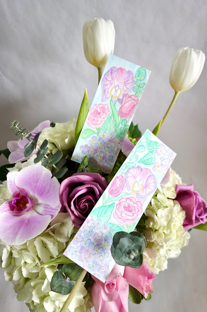 flowers, floral arrangement, roses, orchids, hydrangeas, tulips, eucalyptus, how to dry flowers, watercolor painting, bookmark, dried flower arrangement, how to make flowers last, blah to TADA, crafts, handmade