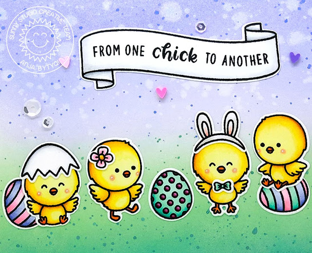 Sunny Studio Stamps: Chickie Baby Banner Basics Friendship Card by Anja Bytyqi