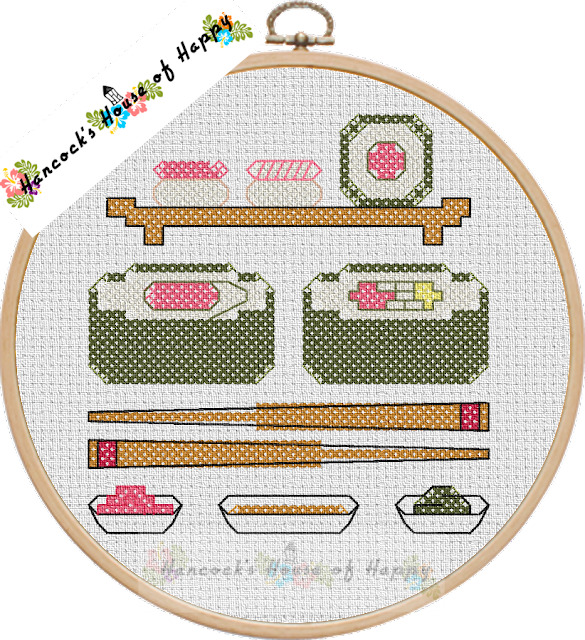free sushi needlepoint sampler to download