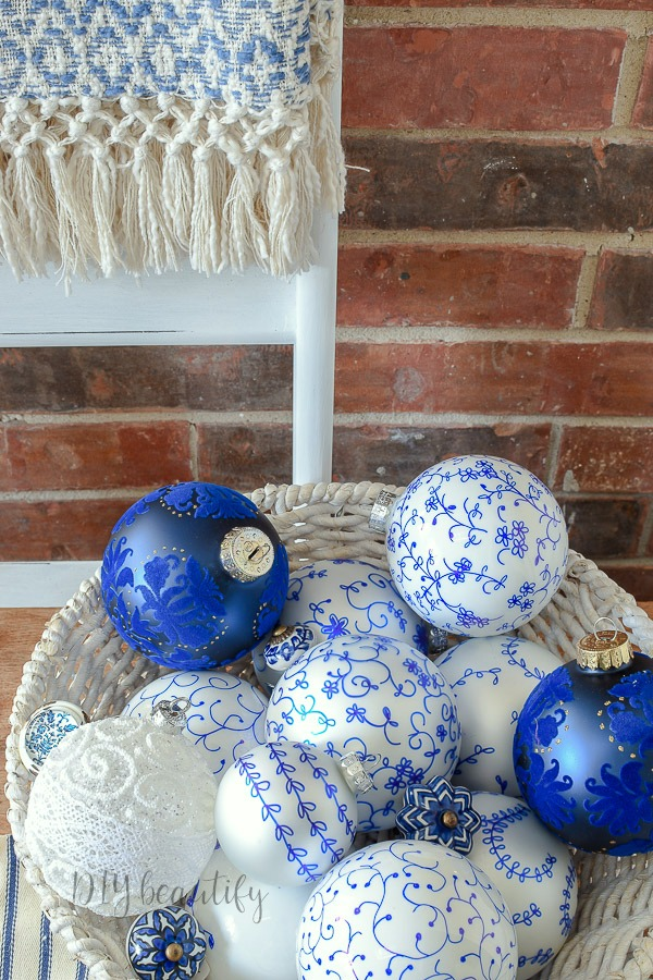basket of ornaments blue and white