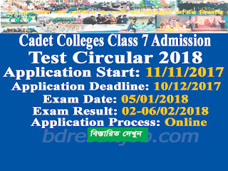 Cadet colleges Class 7 Admission circular 2018