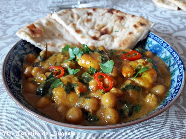 Curry de Garbanzos, Espinacas y Gambas