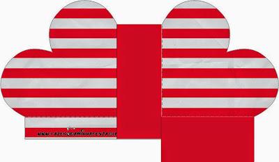 Rayas Rojo y Blanco: Cajas para Boda para Imprimir Gratis.