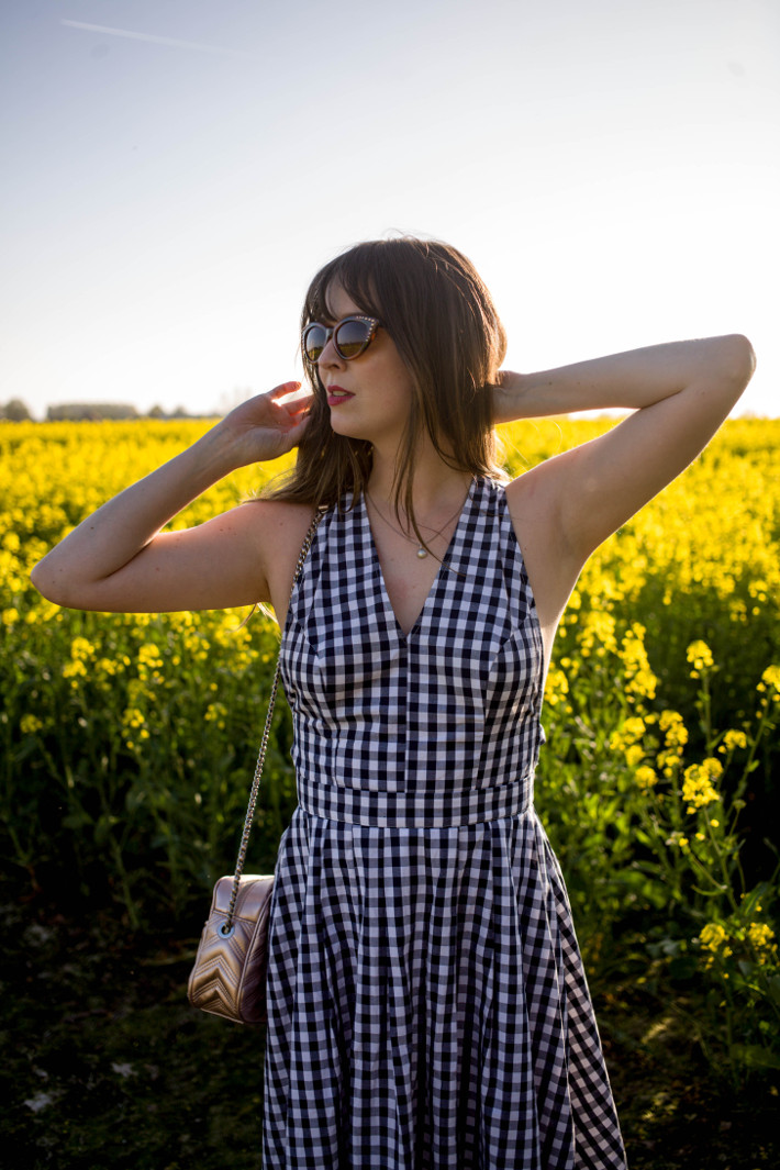 Outfit: gingham dress