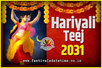 2031 Hariyali Teej Festival Date and Time, 2031 Hariyali Teej Calendar