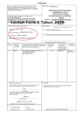 Contoh Form E-Asean-China Meringankan Beban Biaya Import Barang dari China Ke Indonesia