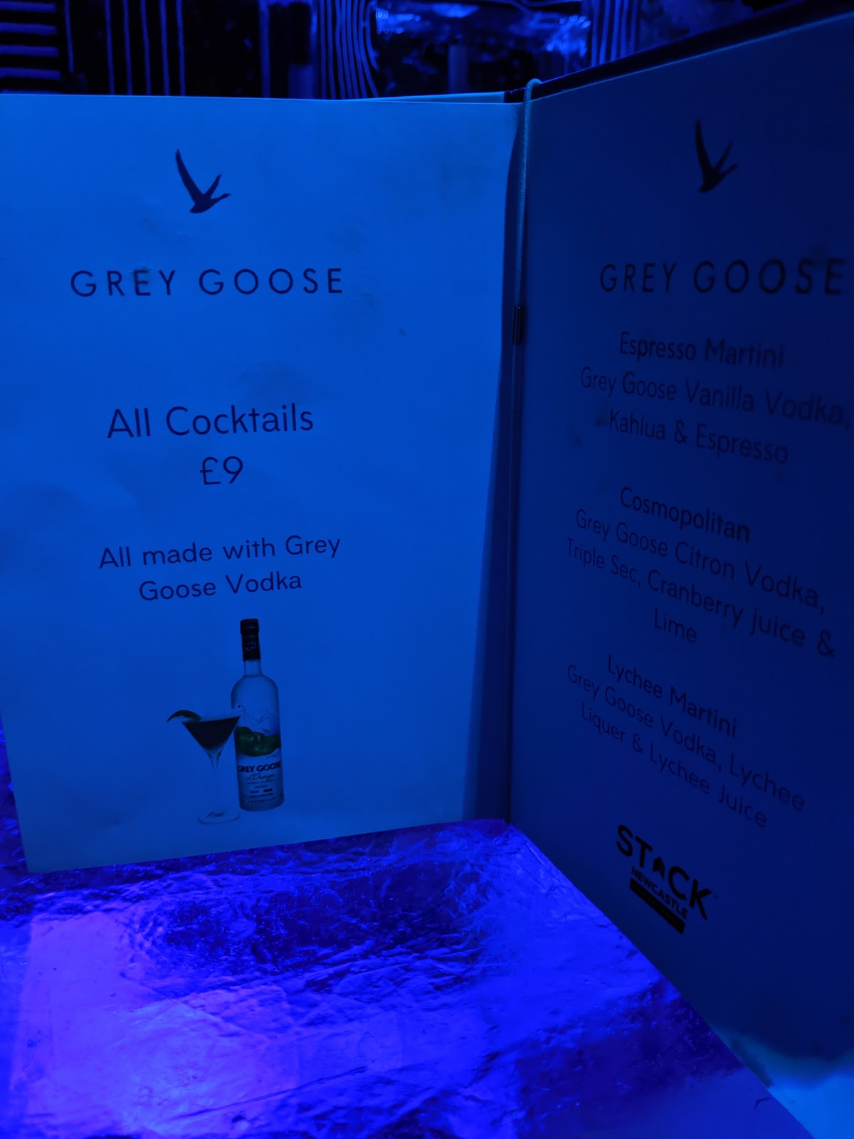 The Ice Bar at STACK Newcastle Review  - cocktail menu