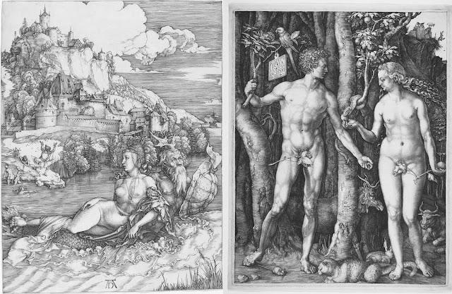Albrecht Dürer's Sea Monster and Adam and Eve