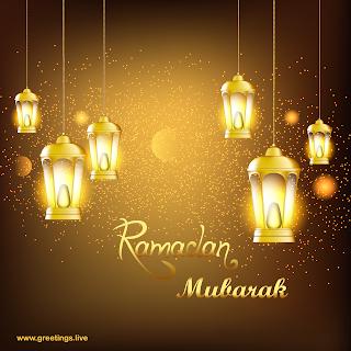 Ramadan mubarak sparkling golden mist ramadan lanterns