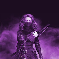 Masked woman with swords strapped to her back in a field of smoke