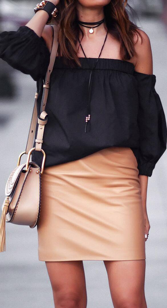 cute outfit idea with a skirt