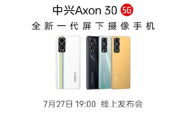 سيتم الكشف عن ZTE Axon 30 5G مع كاميرا تحت الشاشة في 27 يوليو
