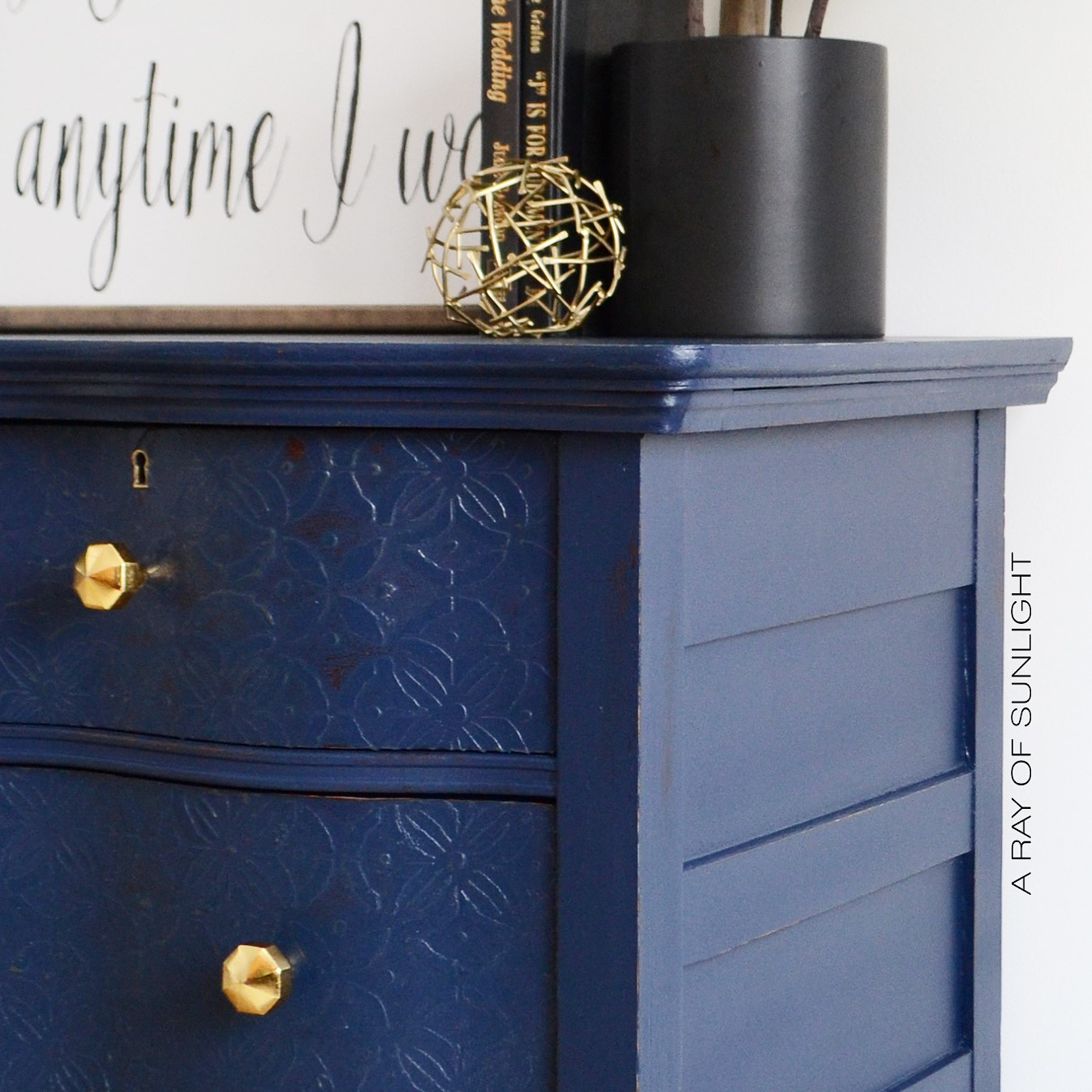 Navy Blue Antique Serpentine Dresser with Embossed Drawers and Gold  Geometric Knobs - Painted in Country - A Ray Of Sunlight: Navy Serpentine Dresser With Gold Knobs