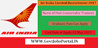Air India Limited Recruitment 2017– Conservator Trainees