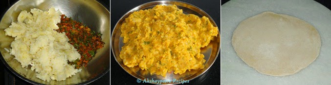 filling prepared with potato to make stuffed aloo paratha recipe