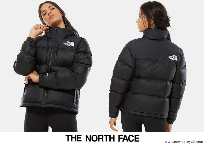 Princess Isabella wore a black nuptse cropped down jacket from The North Face