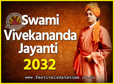 2032 Swami Vivekananda Jayanti Date & Time, 2032 National Youth Day Calendar