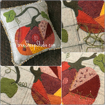 Wool Applique Pumpkin by Rose Clay at ThreeSheepStudio.com