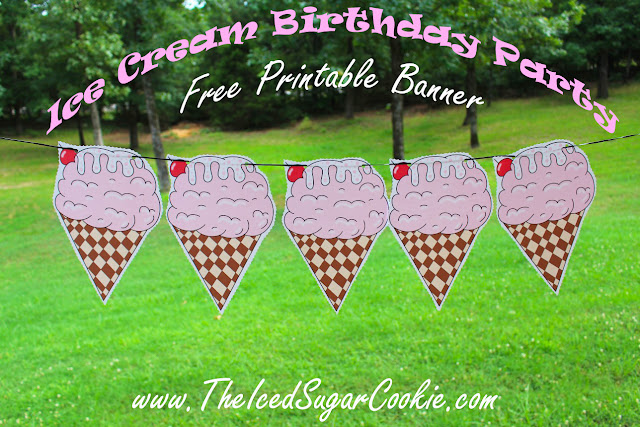 Printable Cutouts For An Ice Cream Flag Bunting Banner Garland
