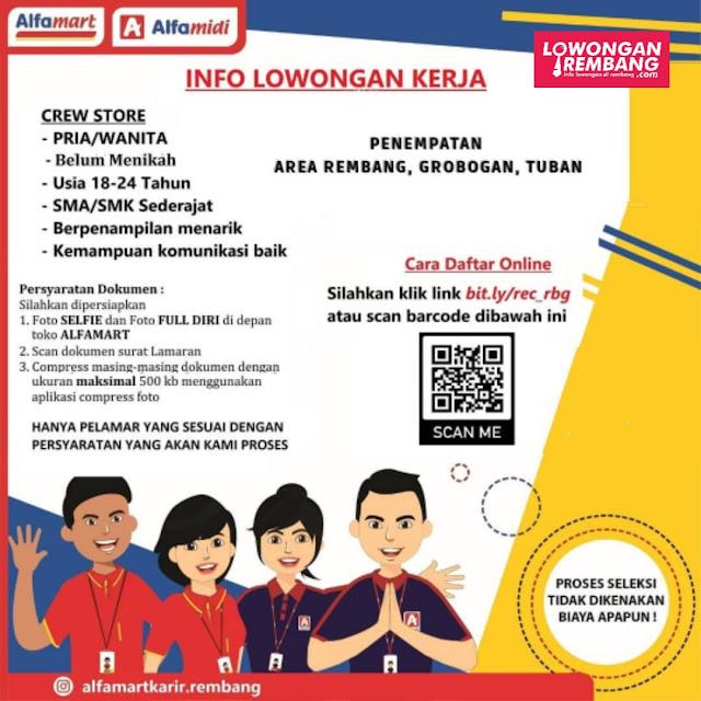 Lowongan Kerja Crew Store Alfamart Rembang,Grobogan, dan Tuban