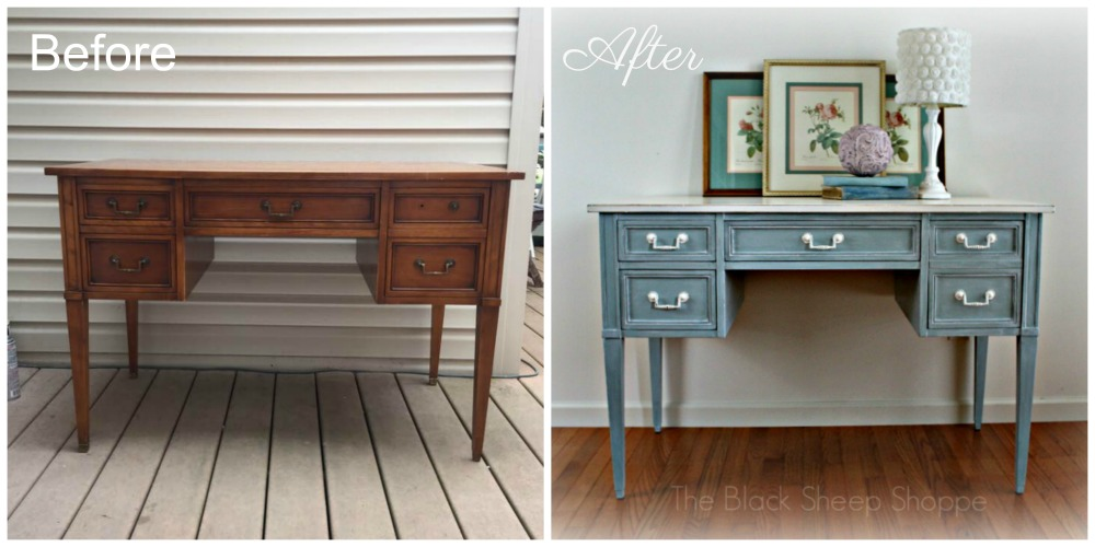 Before and after: Vintage writing desk.