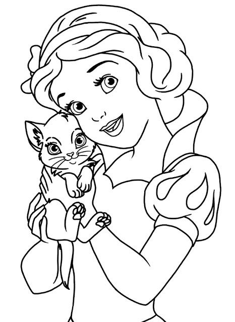 caricatura para colorear blanca Nieves con gatito