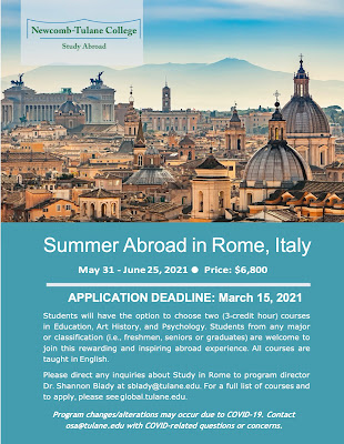 Sumer Abroad in Rome May 31-June25, 2021