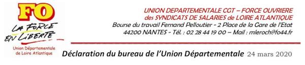COVID-19 : DÉCLARATION DU BUREAU DE L'UNION DÉPARTEMENTALE