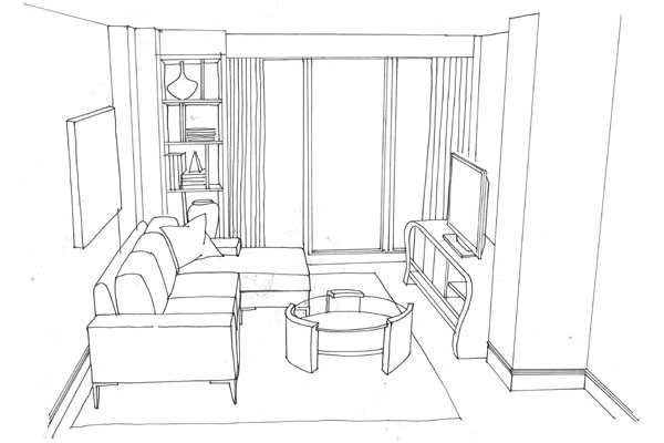 Thoughts from the art room grade 10 art - One point perspective drawing living room ...