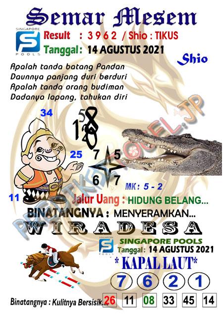 Syair Semar Mesem SGP Sabtu 14-Agt-2021