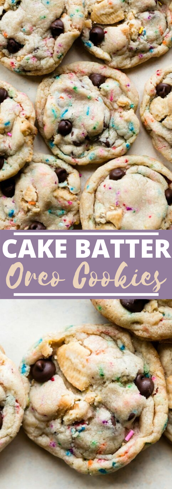 Cake Batter Oreo Cookies #cookies #desserts #baking #chocolatechip #easy