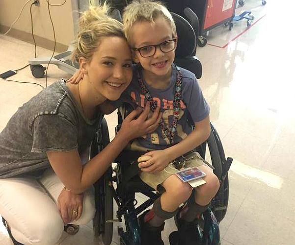 A true superhero: Jennifer Lawrence visited a children's Hospital in Montreal