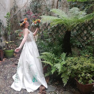 Robe de mariée Fougères, nature bohème, peinte à la main