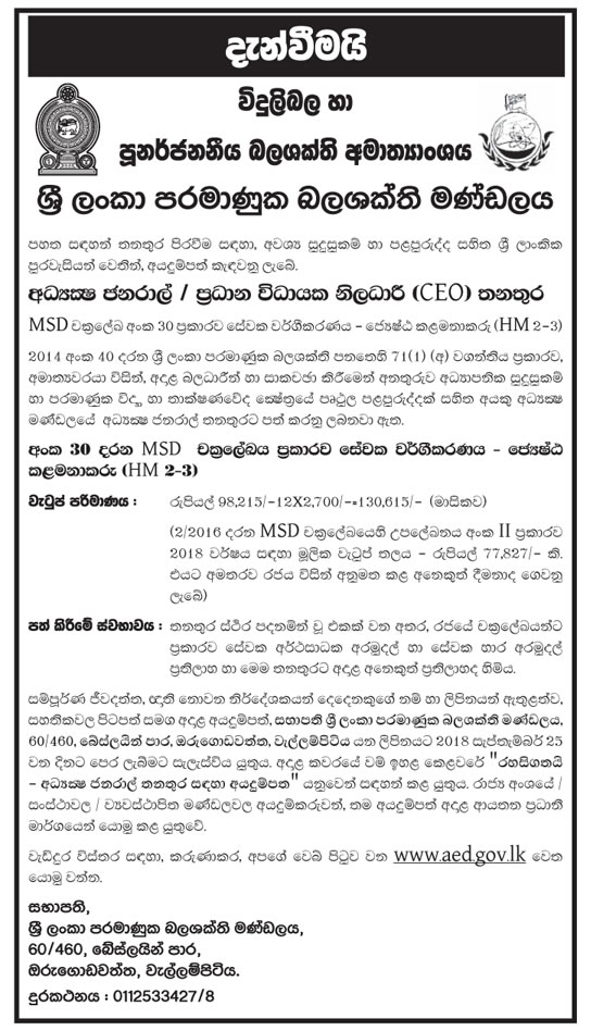 Chief Executive Officer (CEO) - Sri Lanka Atomic Energy Board - Ministry of Power and Renewable Energy