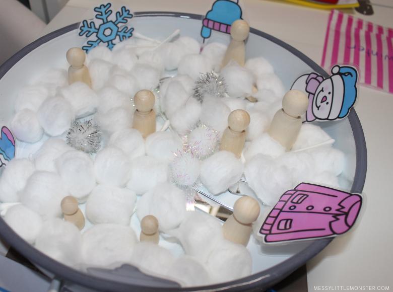 snow sensory bin
