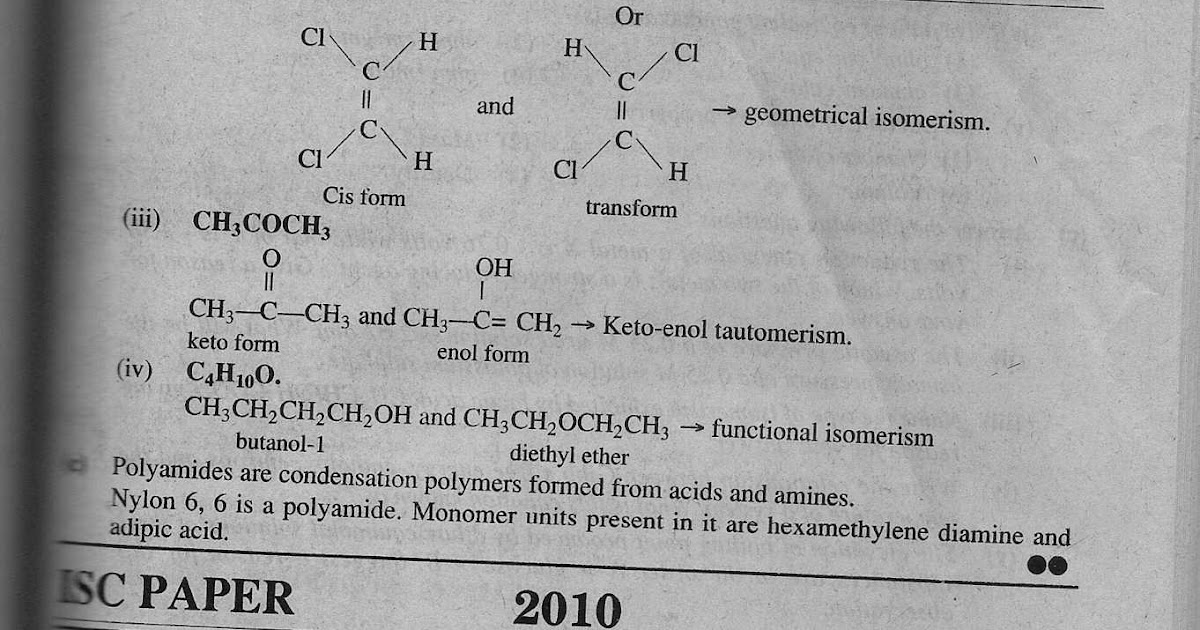 Solved ISC Papers: ISC Solved Chemistry Paper 2010