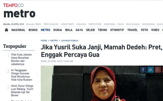 Ceramah Mamah Dedeh Dipelintir Media Mainstream Untuk Menjatuhkan Saingan Ahok