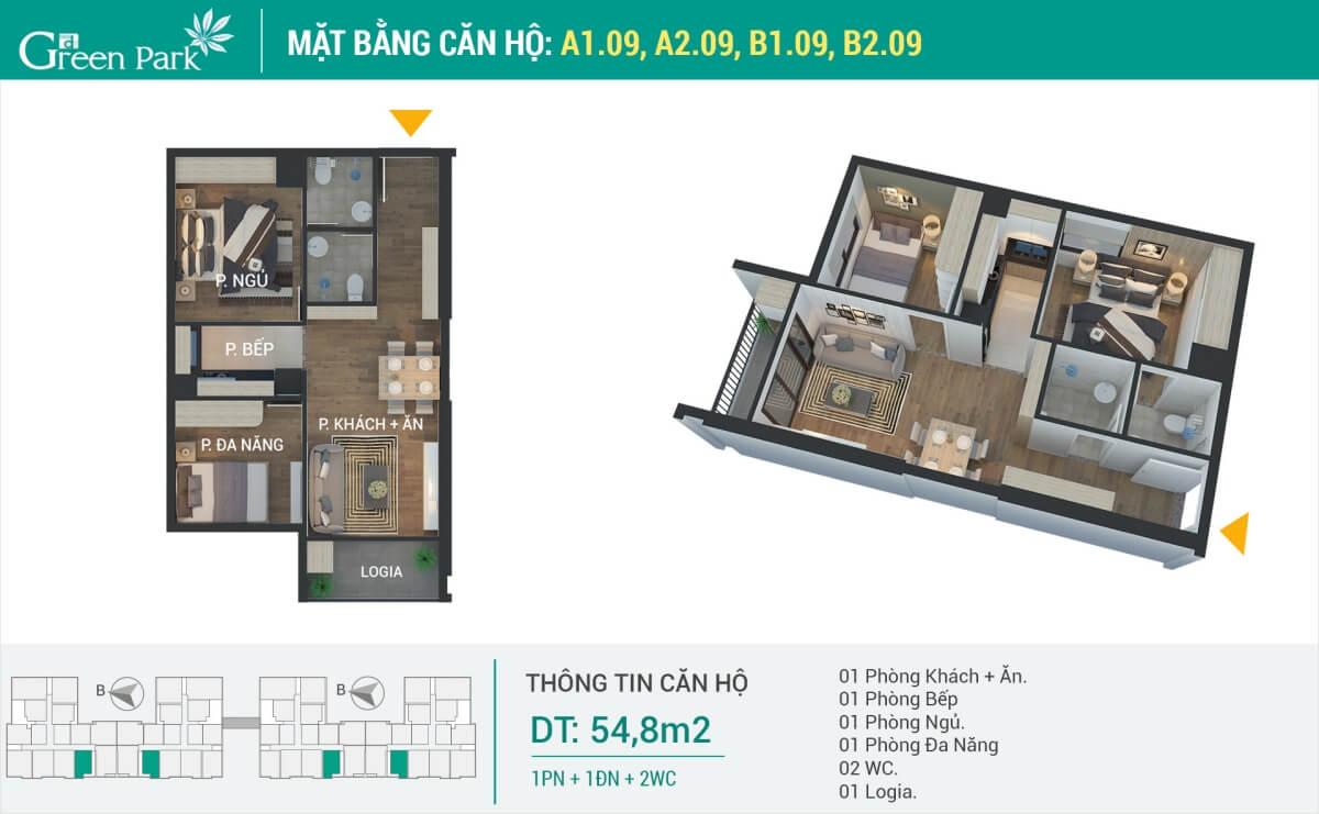 Thiết kế nội thất căn hộ số 09 (54.8m2) 2PN Phương Đông Green Park